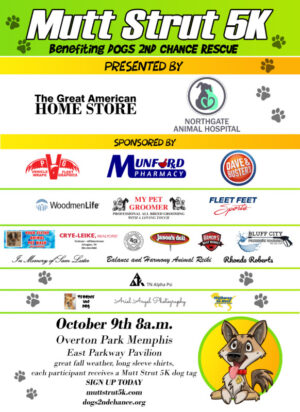 Mutt Strut 5k 2021 to benefit Dogs 2nd Chance October 9 2021 8am