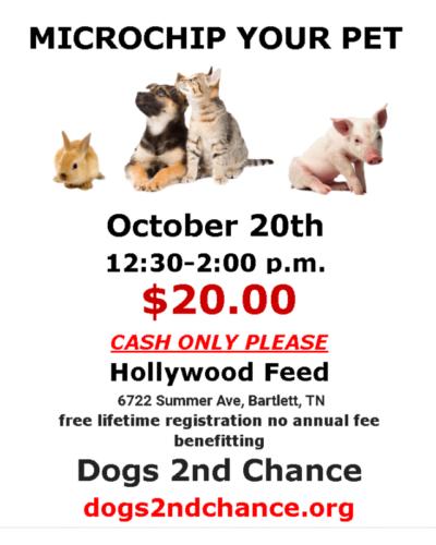 Microchip event Sunday Oct. 20 2019 12:30-2pm Hollywood Feed, Bartlett TN