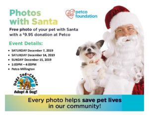 Santa photos December 7, 14, and 15 2019